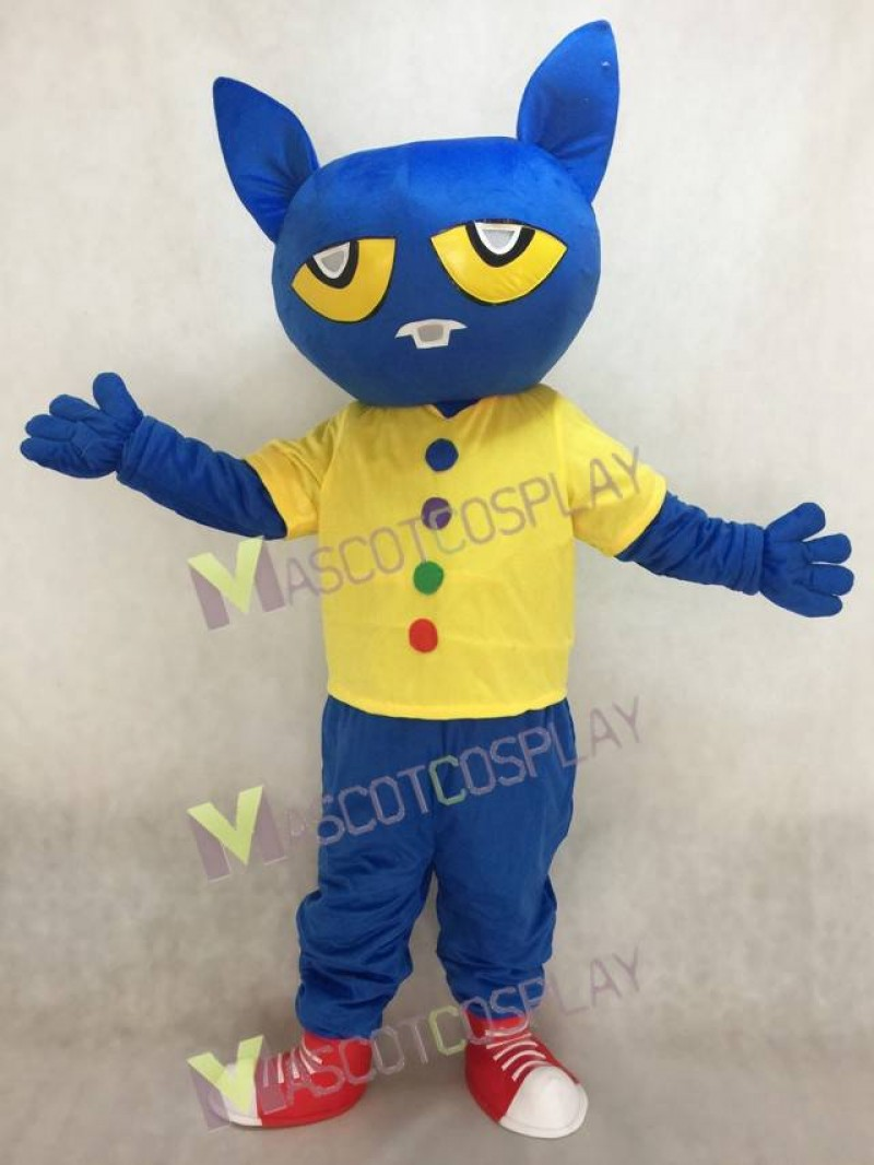 Hot Sale Adorable Realistic New Blue Pete the Cat Mascot Costume Fancy Dress Outfit