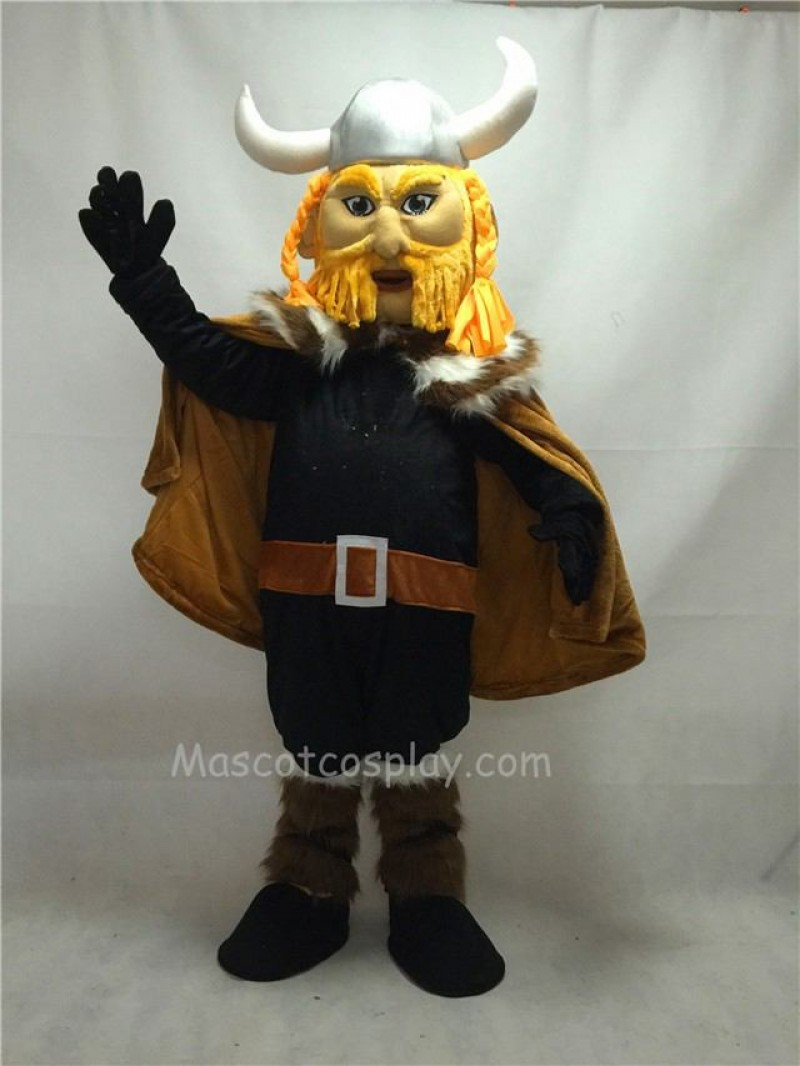 Fierce Thor the Giant Viking Mascot Costume with Silver Hemlet
