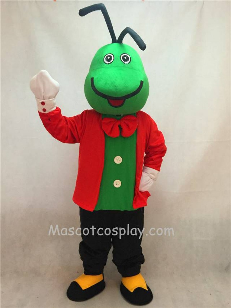 High Quality Realistic New Green Christopher Cricket Mascot Costume with Red Clothes