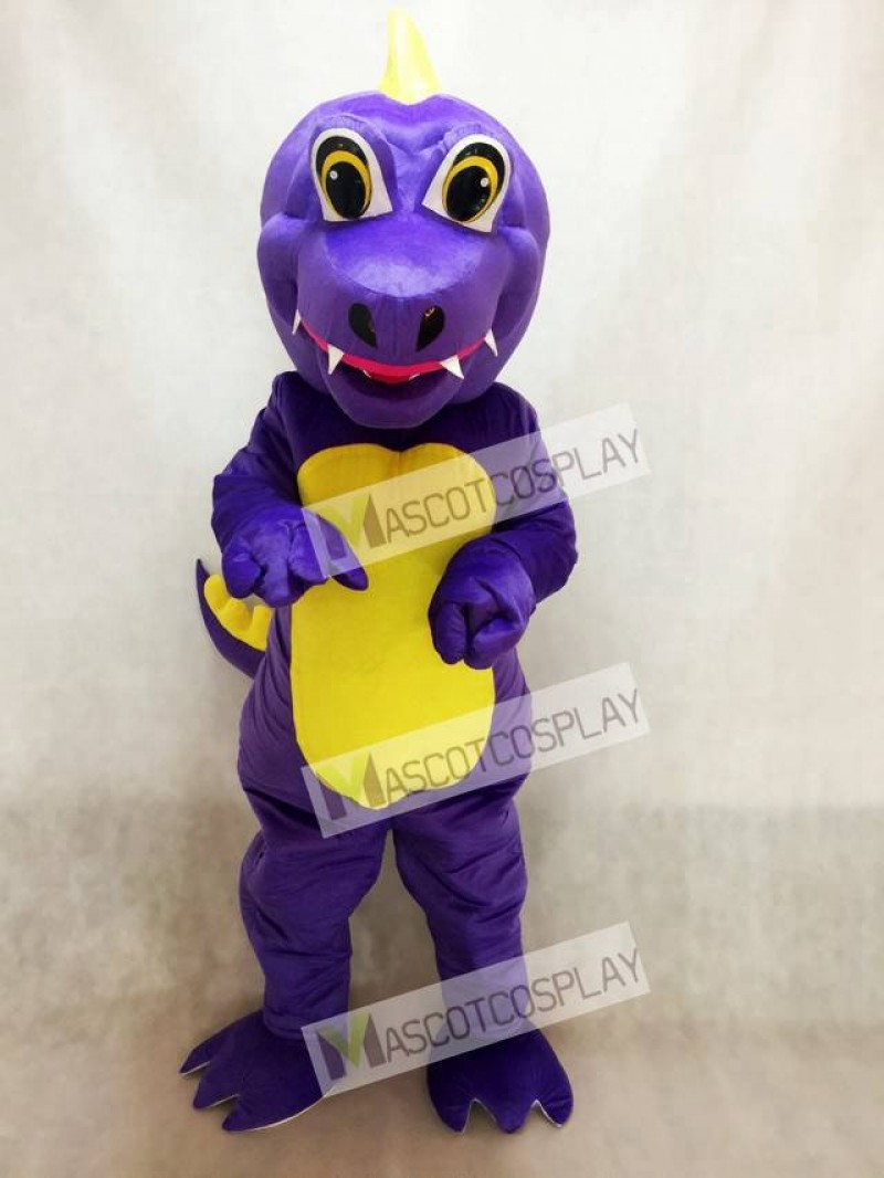 Purple Dunkan Dragon Mascot Costume