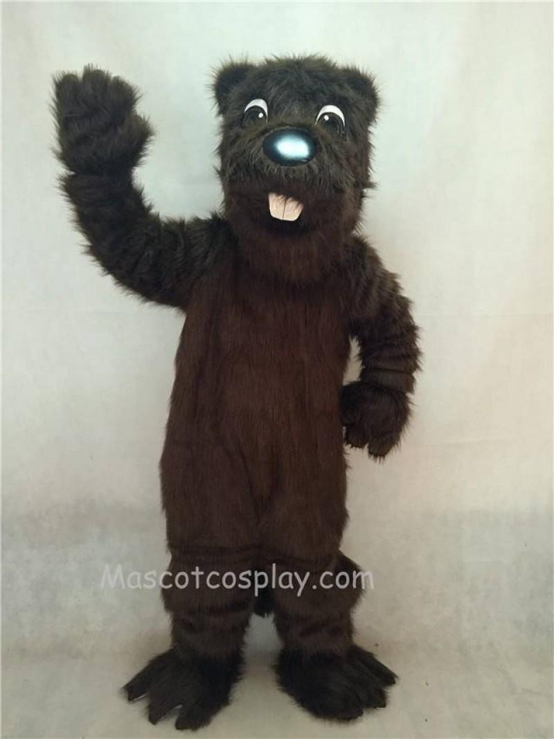 Hot Sale Adorable Realistic New Long Hair Brown Barney Beaver Mascot Costume