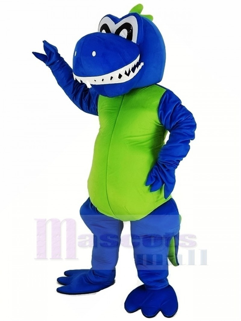 Smiling Blue Dragon Mascot Costume Animal
