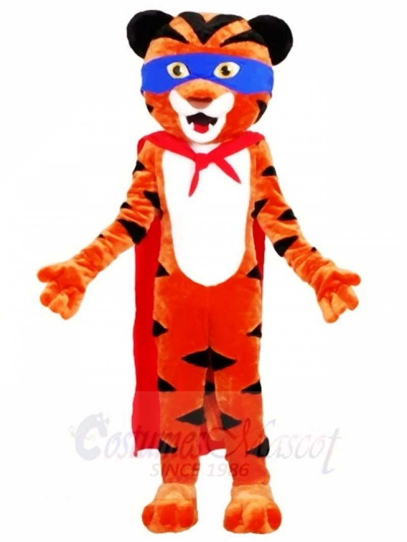 Superhero Tiger with Red Cloak Mascot Costumes Animal