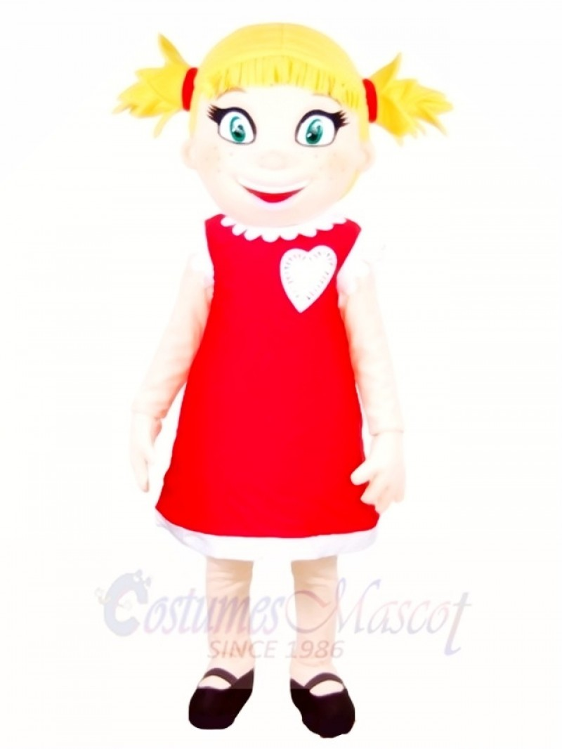 Red Dress Girl Mascot Costumes People
