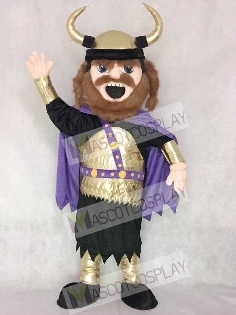 Fierce New Viking Mascot Costume with Purple Cloak