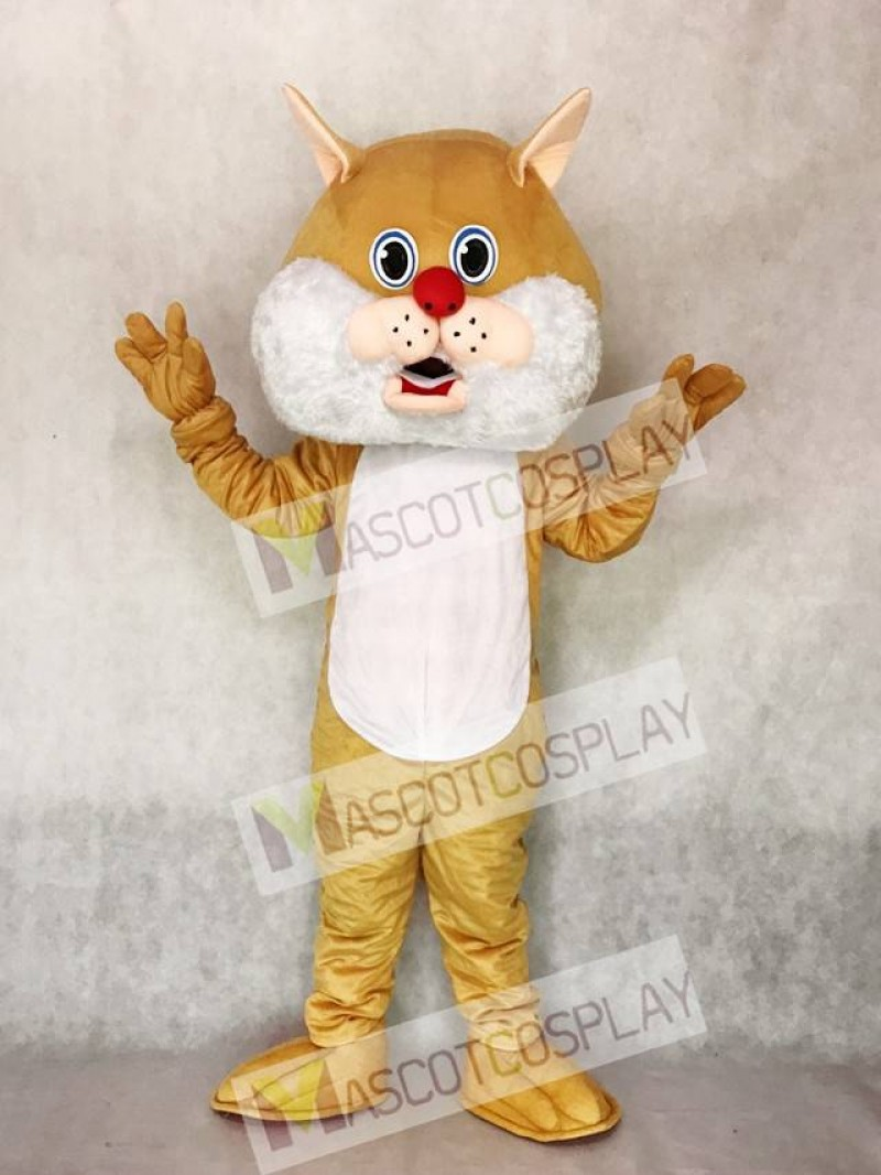 Cute Tan Wirey Wildcat Mascot Costume