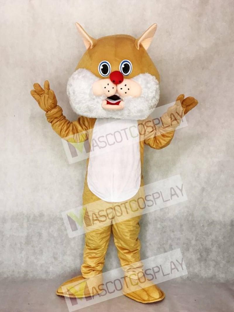 Cute Tan Wirey Wildcat Mascot Costume