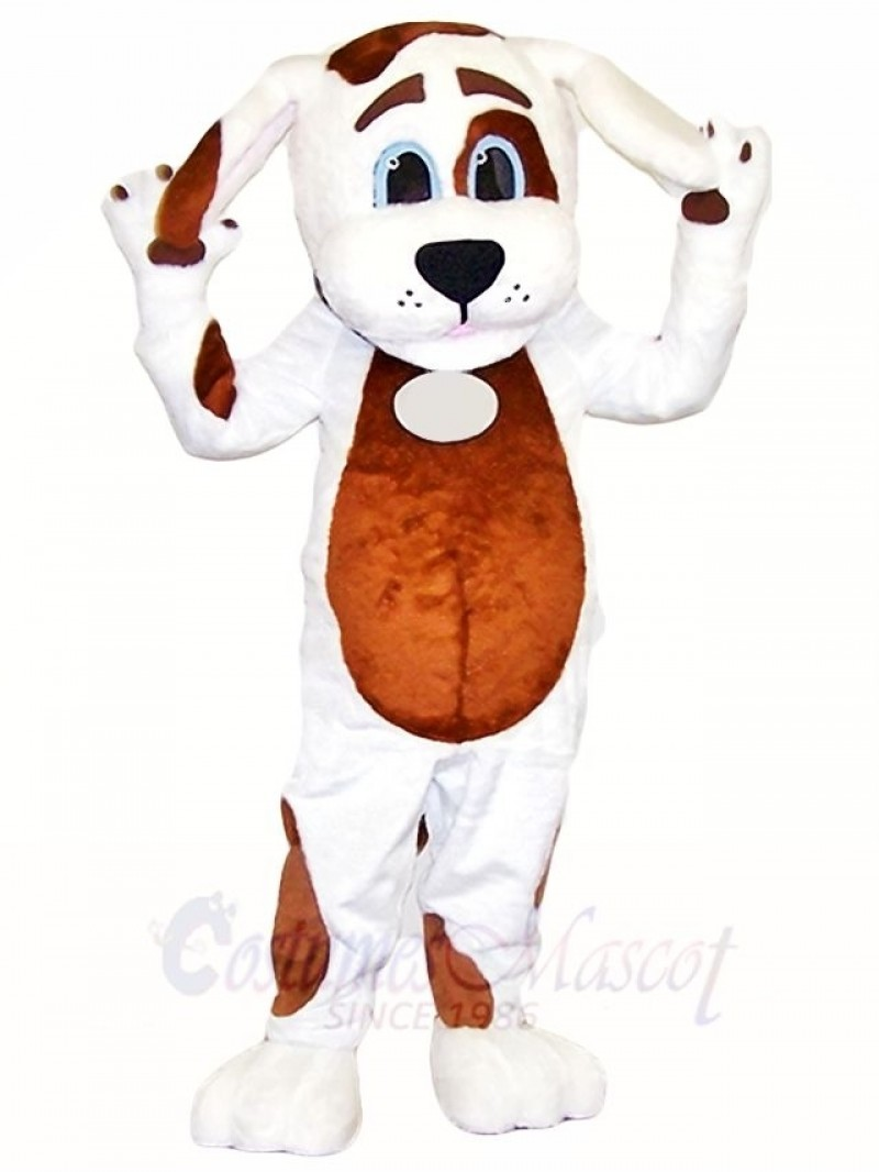 White Dog Mascot Costumes with Brown Belly Animal