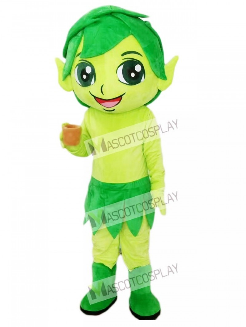 Green Elf Wizard with Leaves Mascot Costume