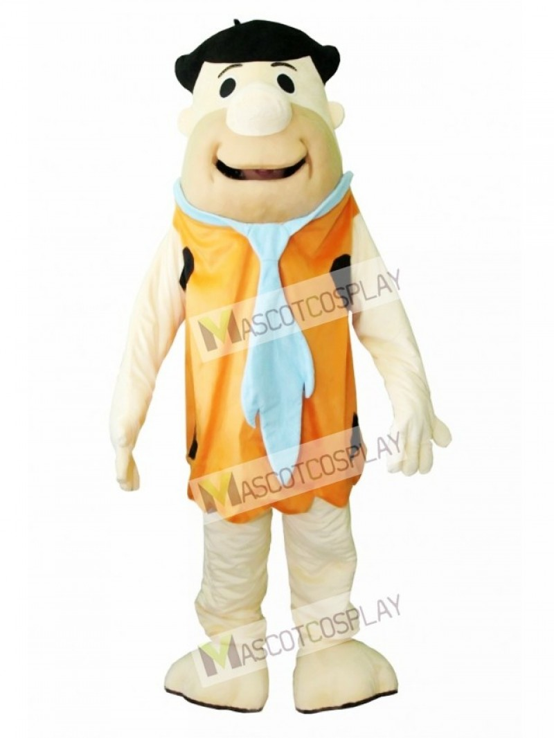 Fred Flintstone Caveman Modern Stone Age Brown Savage Mascot Costume