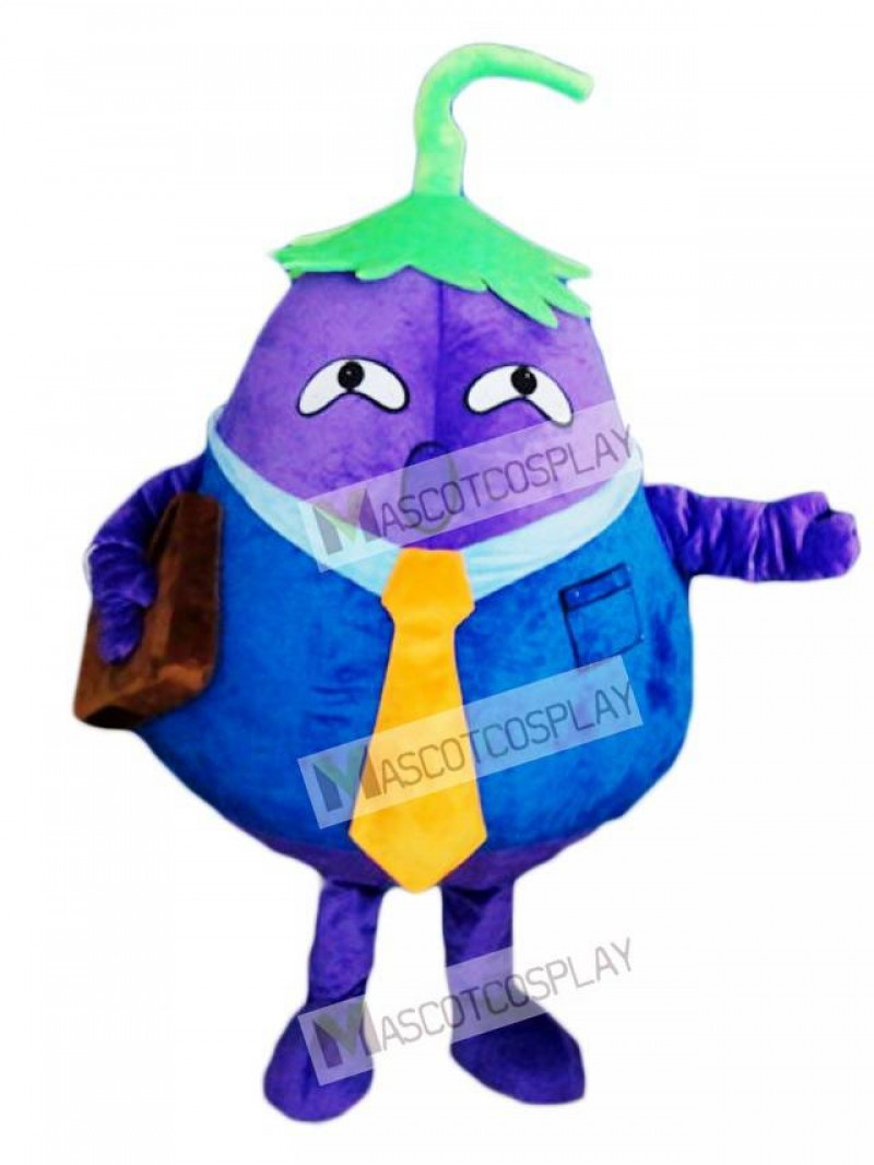 Purple Eggplant Father Vegetable Mascot Costume
