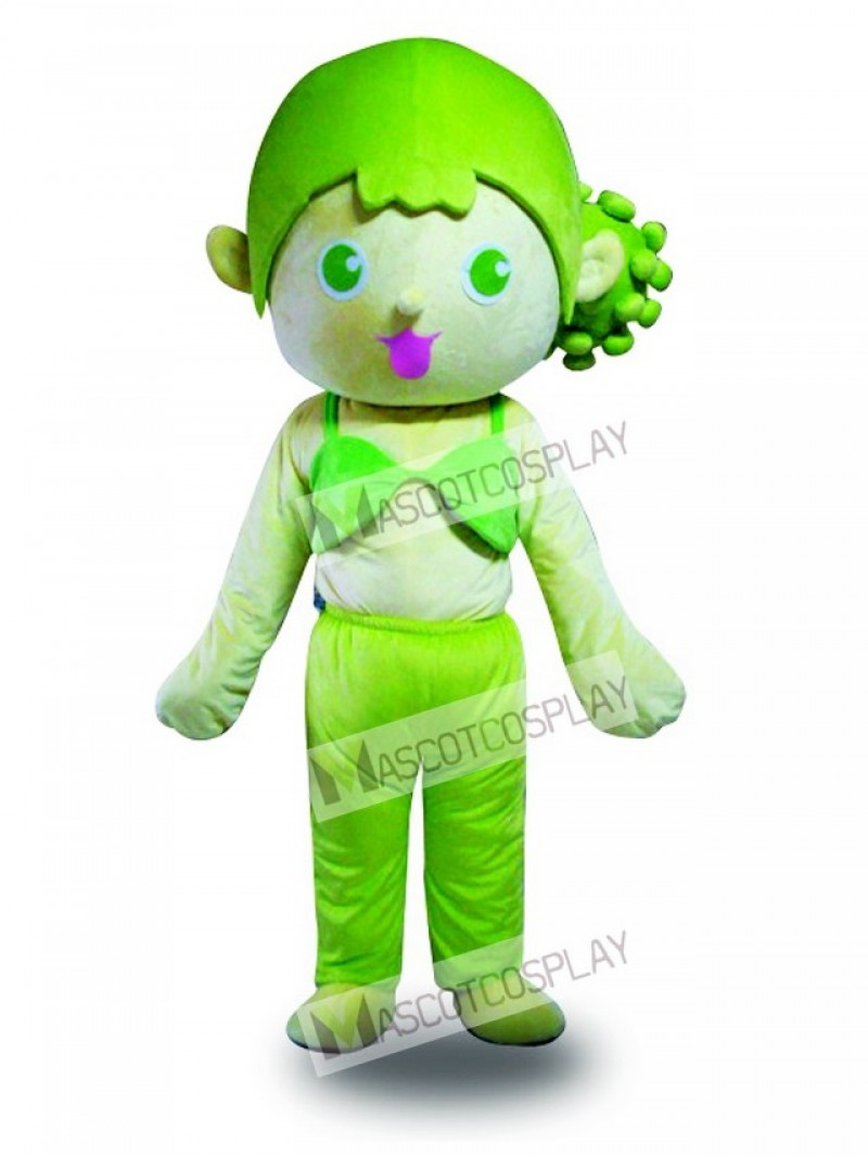 Green Hair Girl Mascot Costume