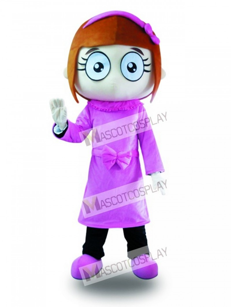 Purple Dress Big Eyes Girl Mascot Costume
