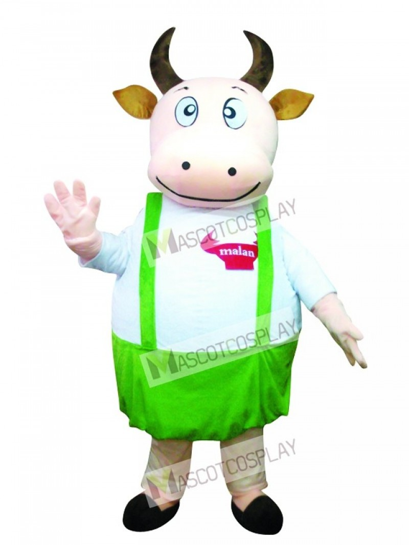 Cute Fat Cow with Blue Overalls Mascot Costume