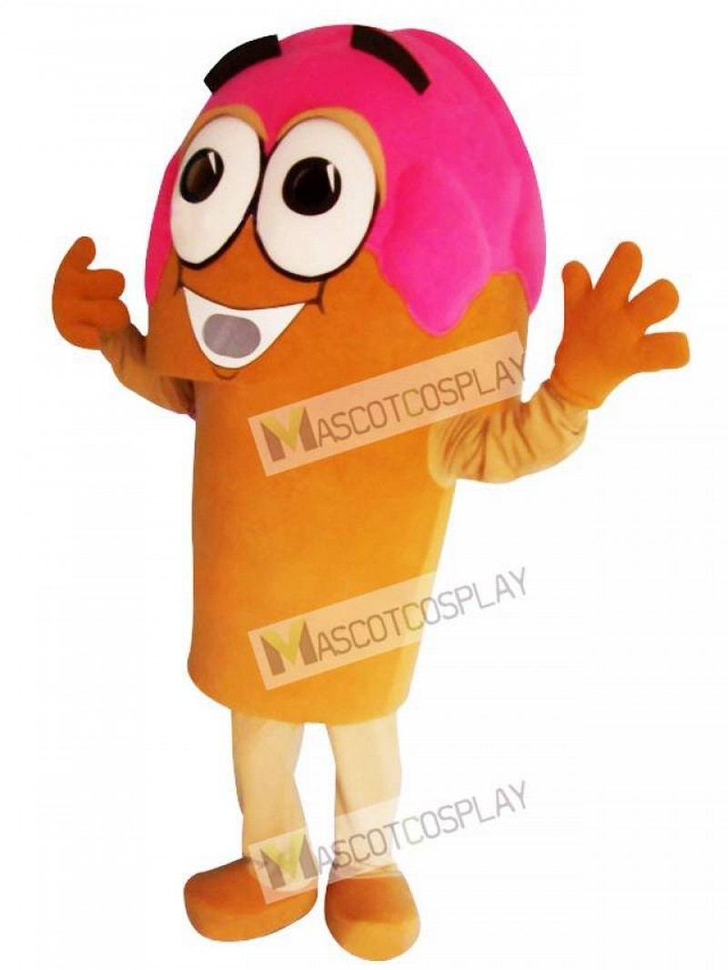 Pink Ice Cream Cone Mascot Costume