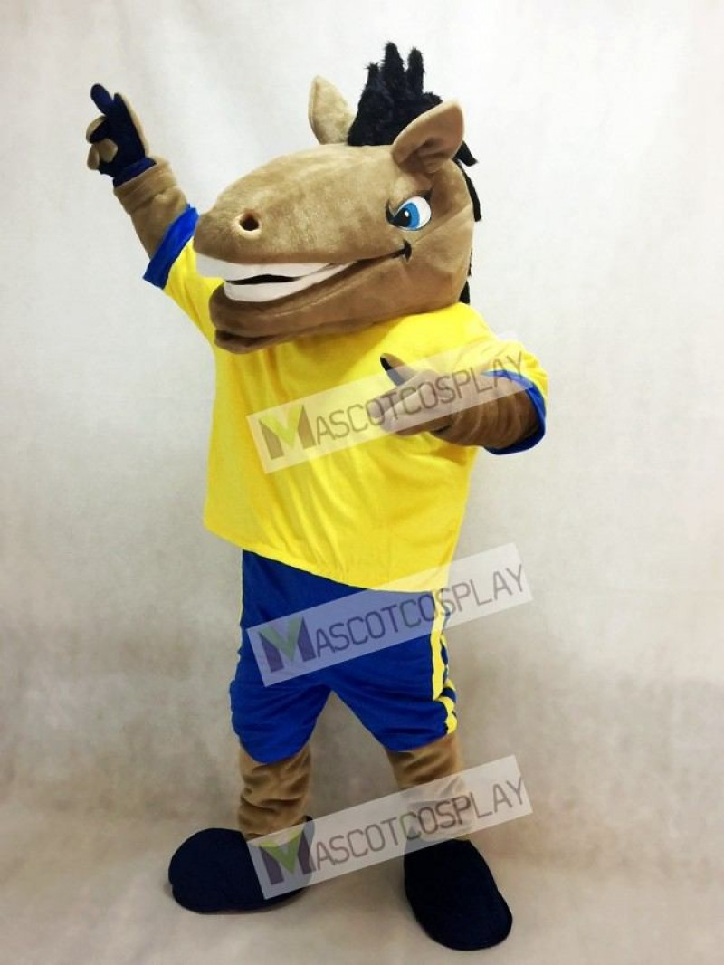 New Sport Team Broncho Horse with Yellow Shirt Mascot Costume