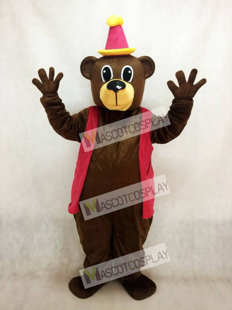 New Brown Birthday Bear with Vest & Hat Mascot Costume