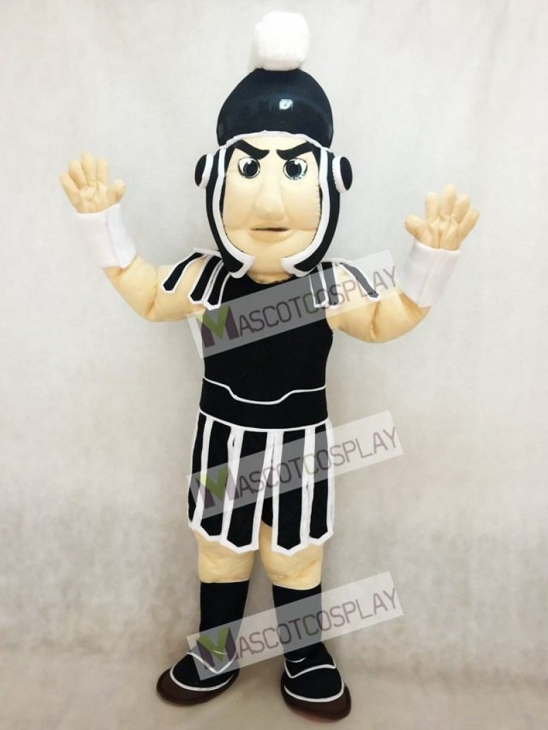 Black and White Spartan Trojan Knight Sparty Mascot Costume