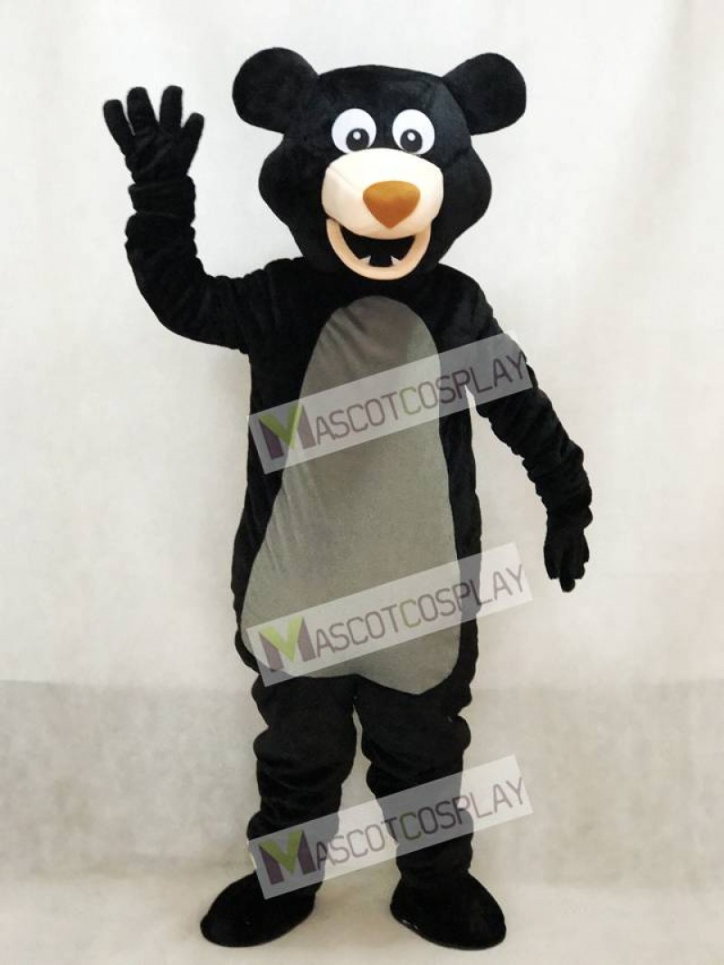 Long-haired Black Bear Mascot Adult Costume Animal