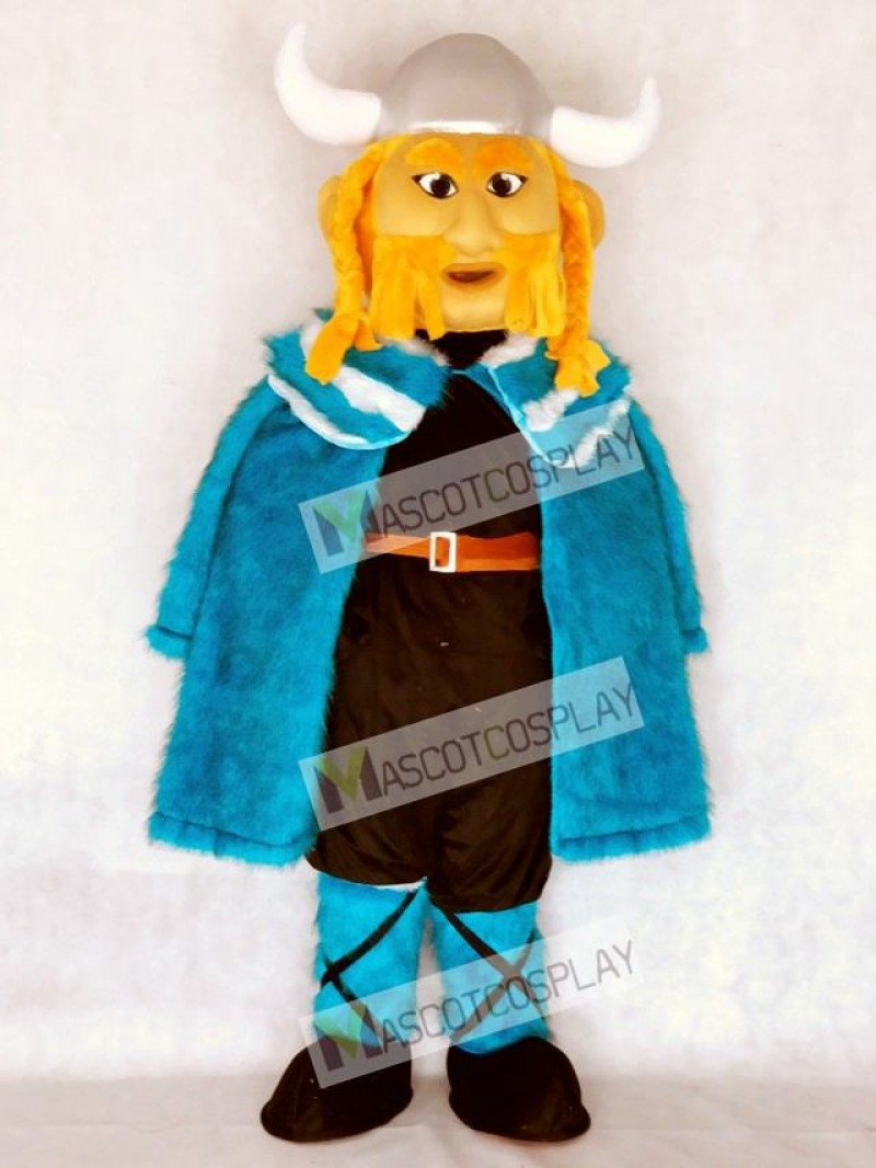 Thor the Giant Viking Mascot Costume with Blue Cloak