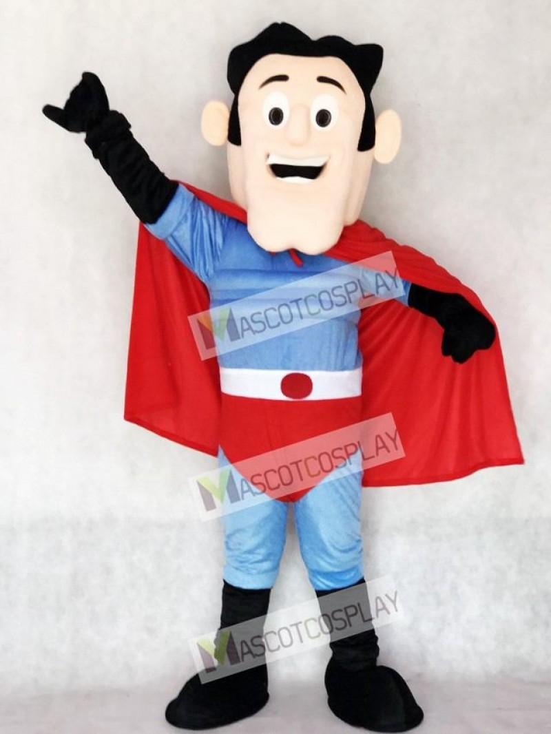 New Super Hero with Red Cape Mascot Costume
