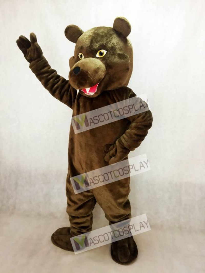 Plush Brown Grizzly Bear Mascot Costume