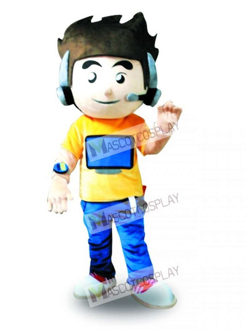 Earphone Computer Boy Mascot Costume
