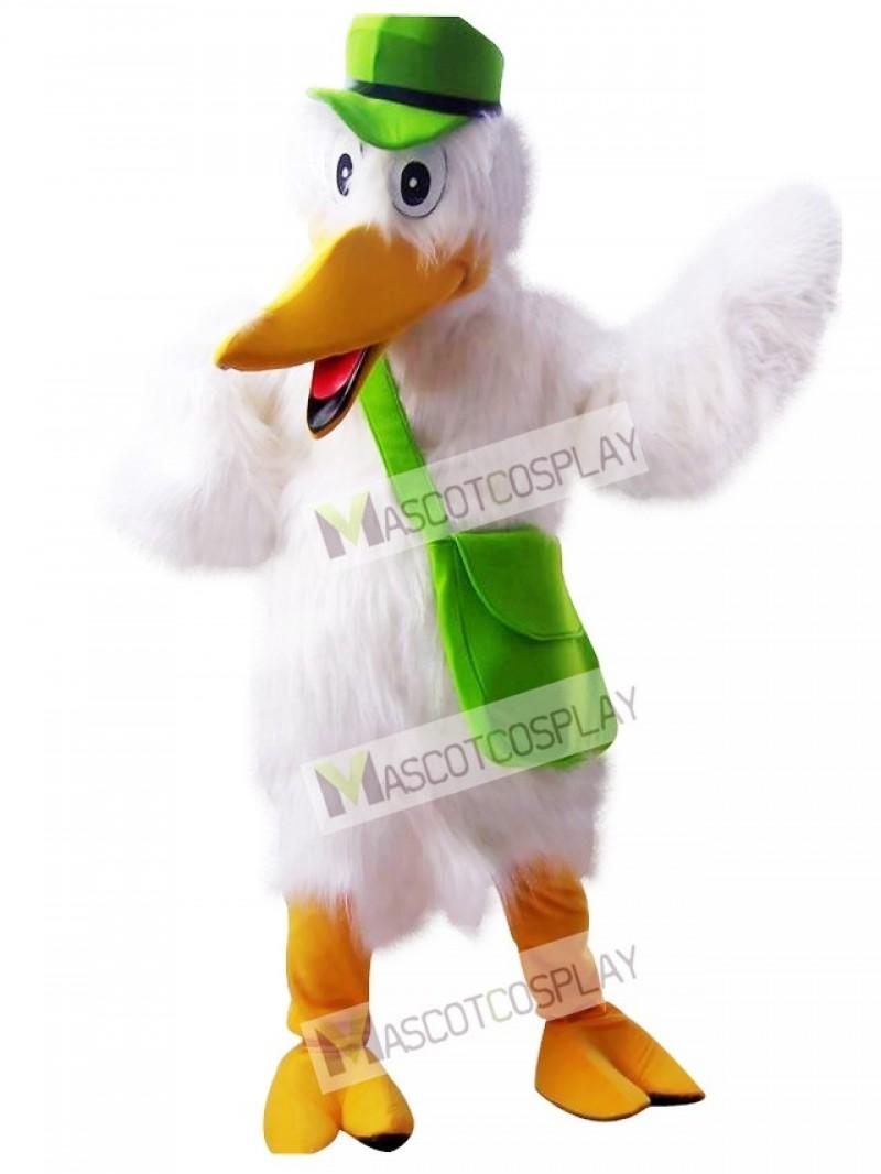 Cute Stork White Bird Mascot Costume