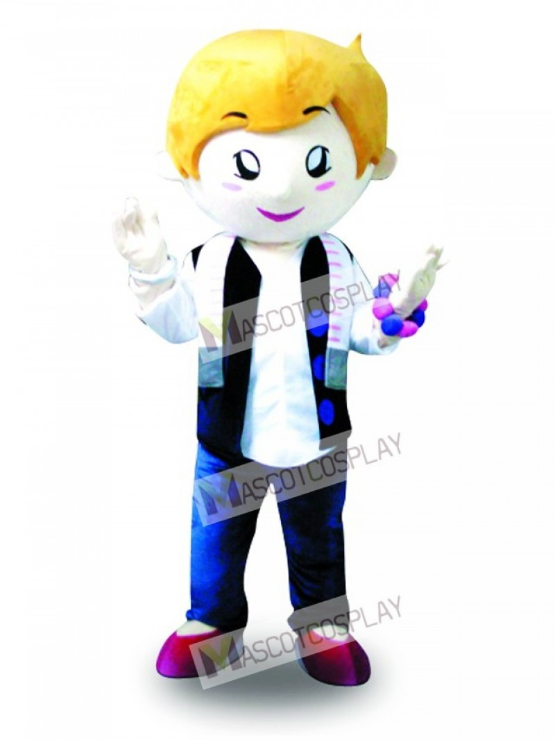 Yellow Hair Vest Boy Mascot Costume