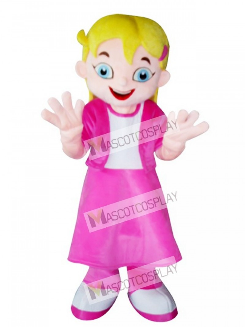 Yellow Hair Girl in Pink Dress Mascot Costume