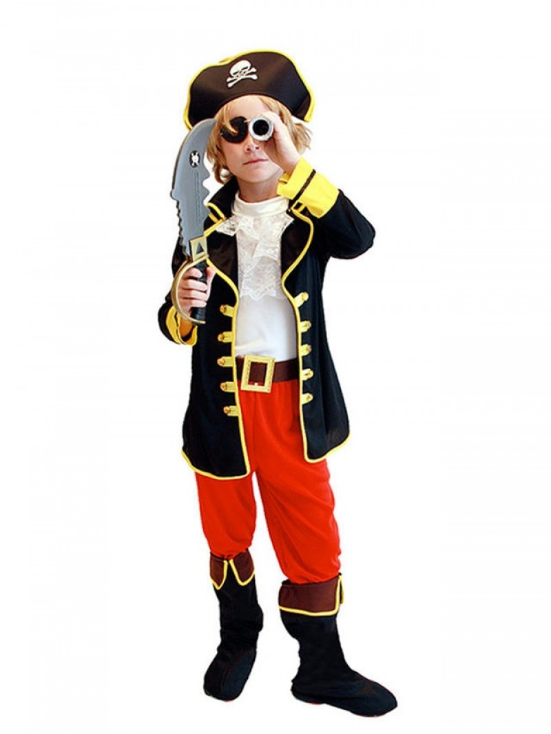 7 Pcs Halloween Cosplay Caribbean Pirates Costumes Captain Jack  Role Playing Children Party Clothes