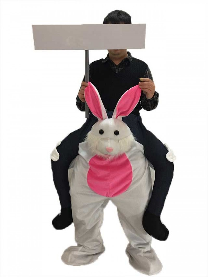 Carry Me Easter Bunny Piggy Back Mascot Ride On Rabbit Fancy Dress Costume