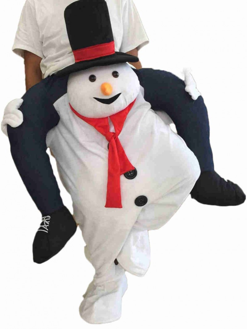 Piggyback Snowman Carry Me Ride White Snowman Mascot Costume