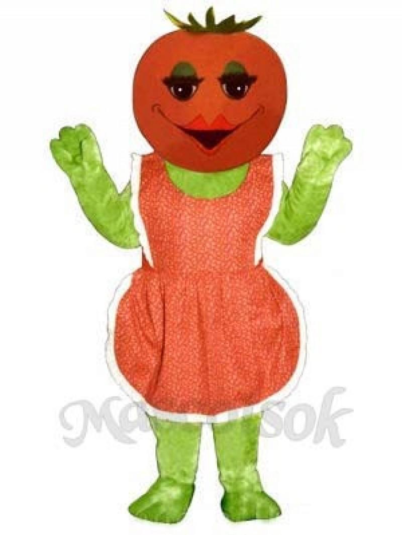 Ms. Tomato with Apron Mascot Costume