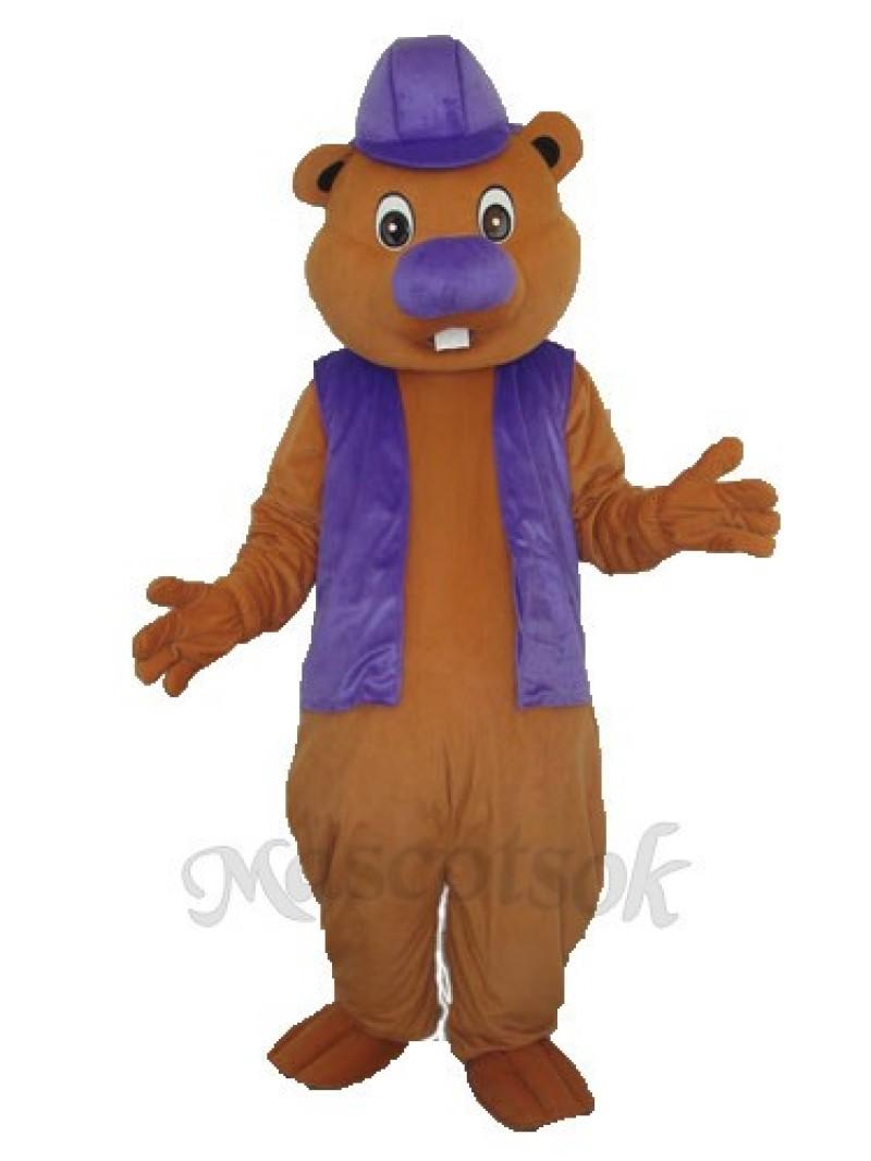 Purple Beaver Mascot Adult Costume