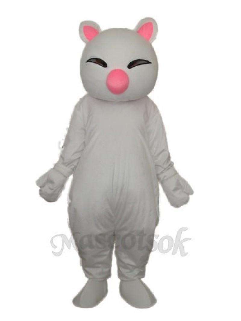 Big Pink Nose White Cat Mascot Adult Costume
