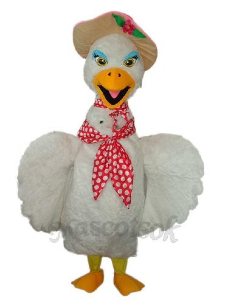 Eyelashes White Swan Mascot Adult Costume