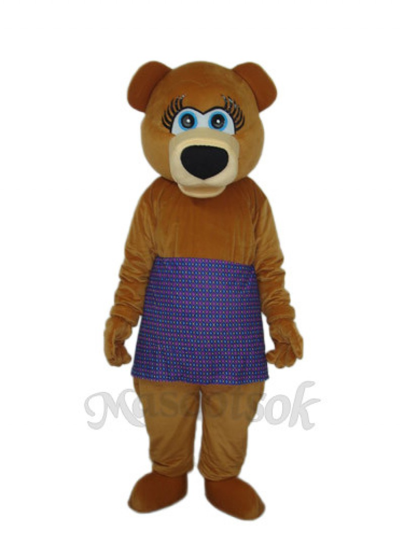Brown Bear in Purple Skirt Mascot Adult Costume