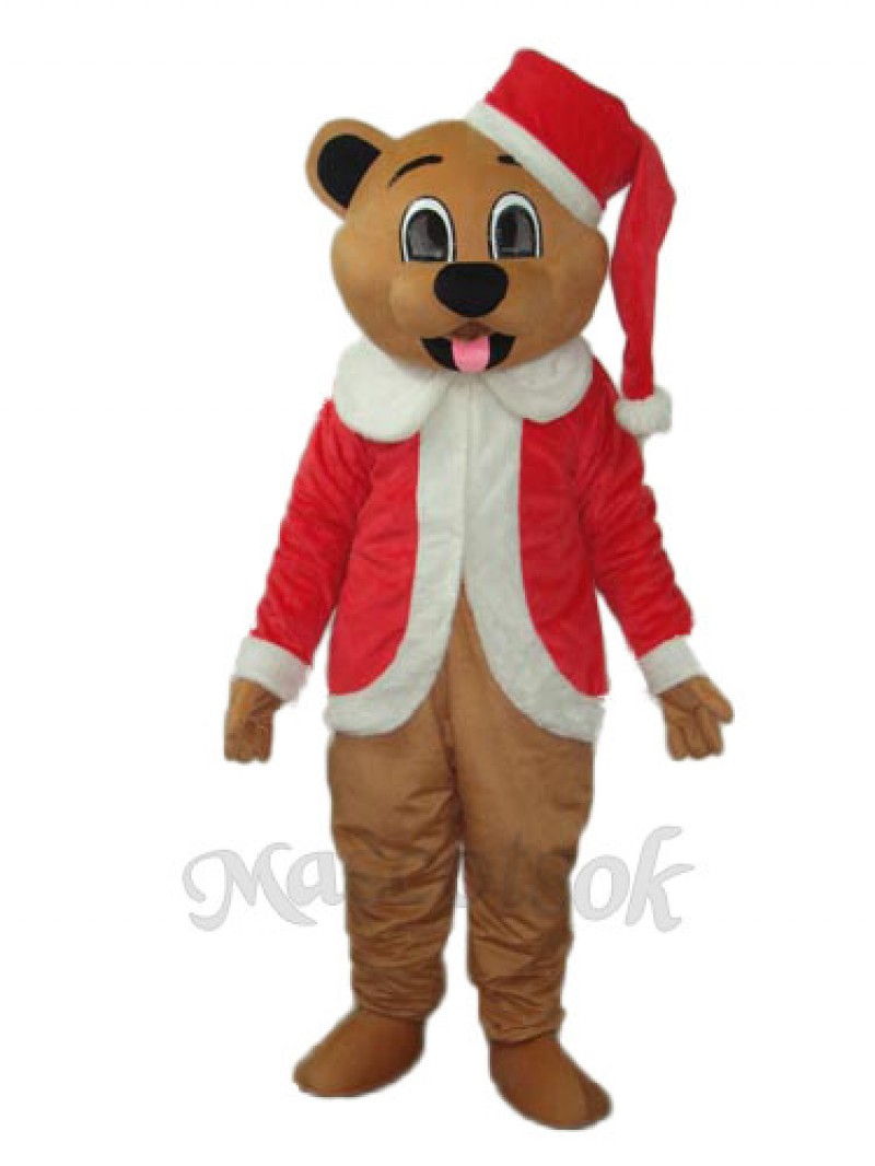 Brown Christmas Bear Mascot Adult Costume