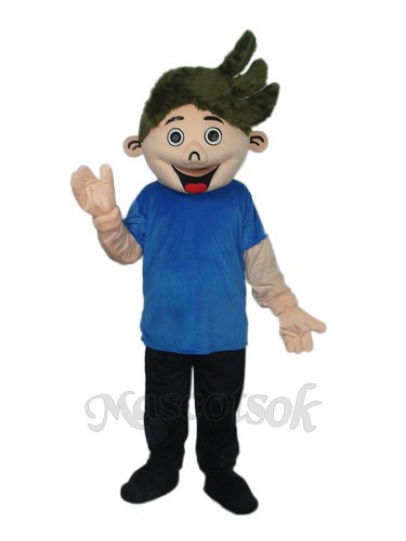 Perm Boy Mascot Adult Costume
