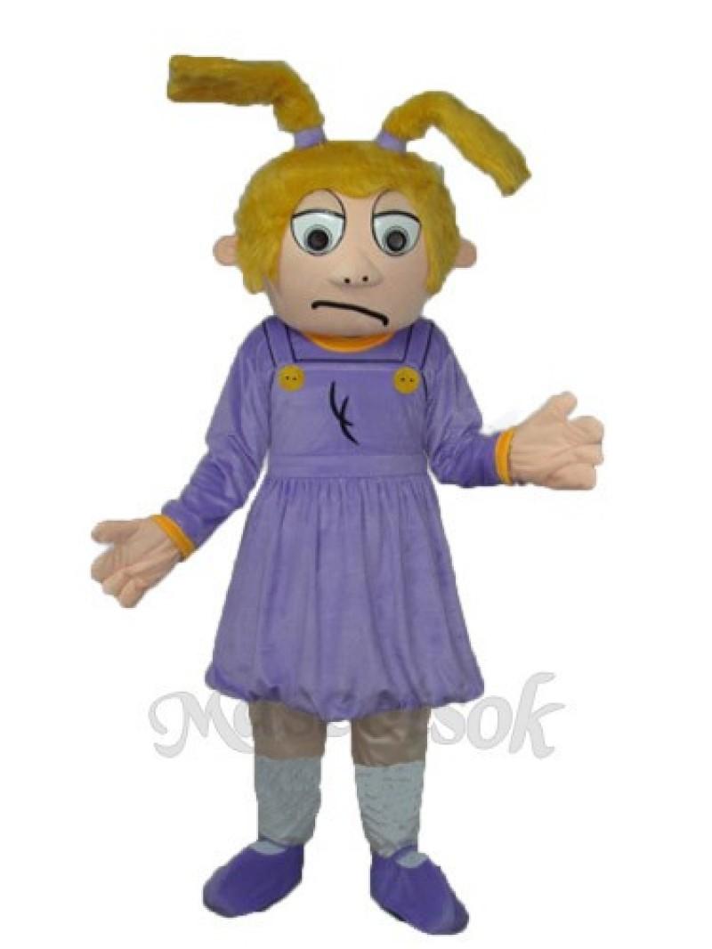 Crying Girl Purple Sad Girl Mascot Adult Costume