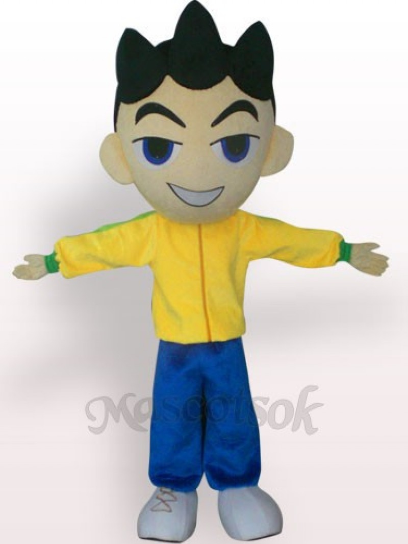Big Head Boy In Yellow Clothes Plush Adult Mascot Costume