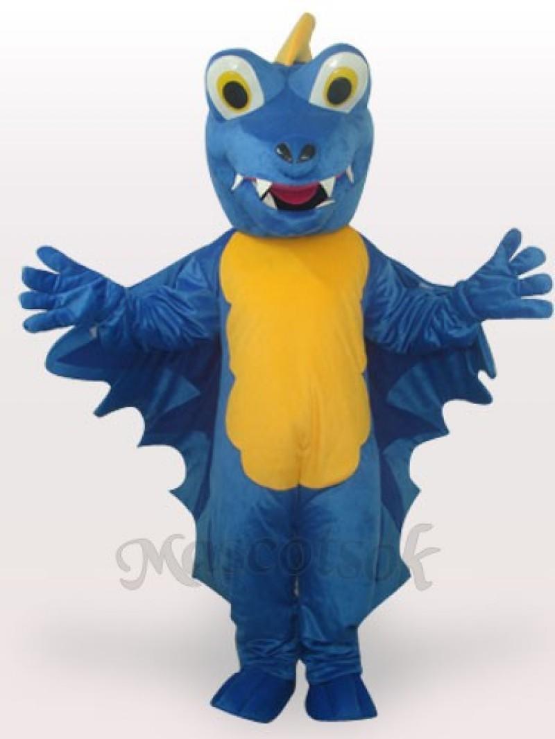 Blue Dinosaur Short Plush Adult Mascot Funny Costume
