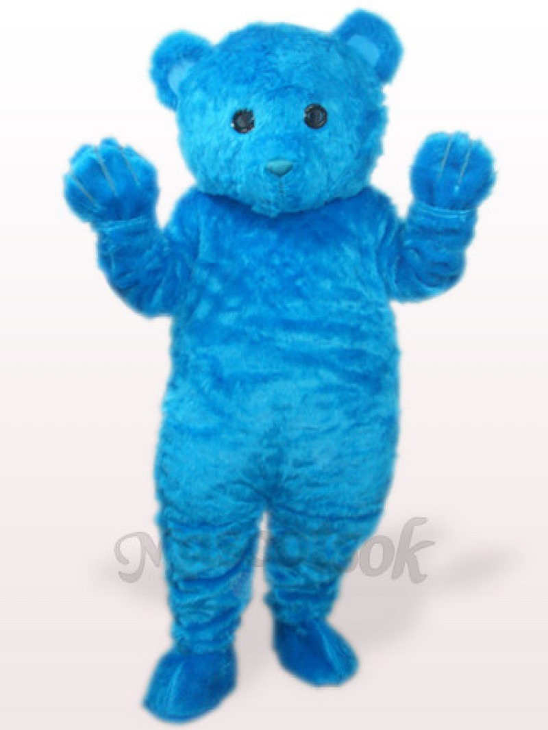 Blue Long Hair Bear Plush Adult Mascot Costume