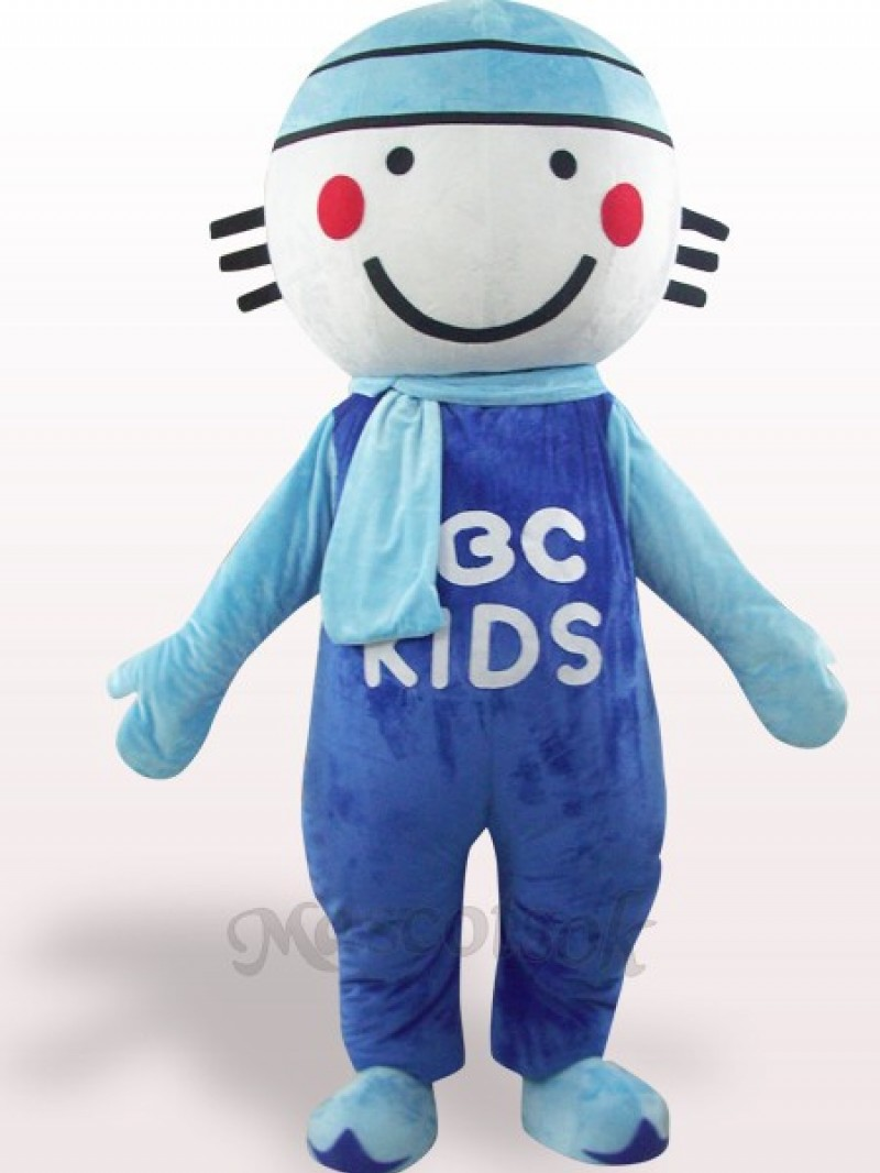 Blue Round Head Doll Plush Adult Mascot Costume