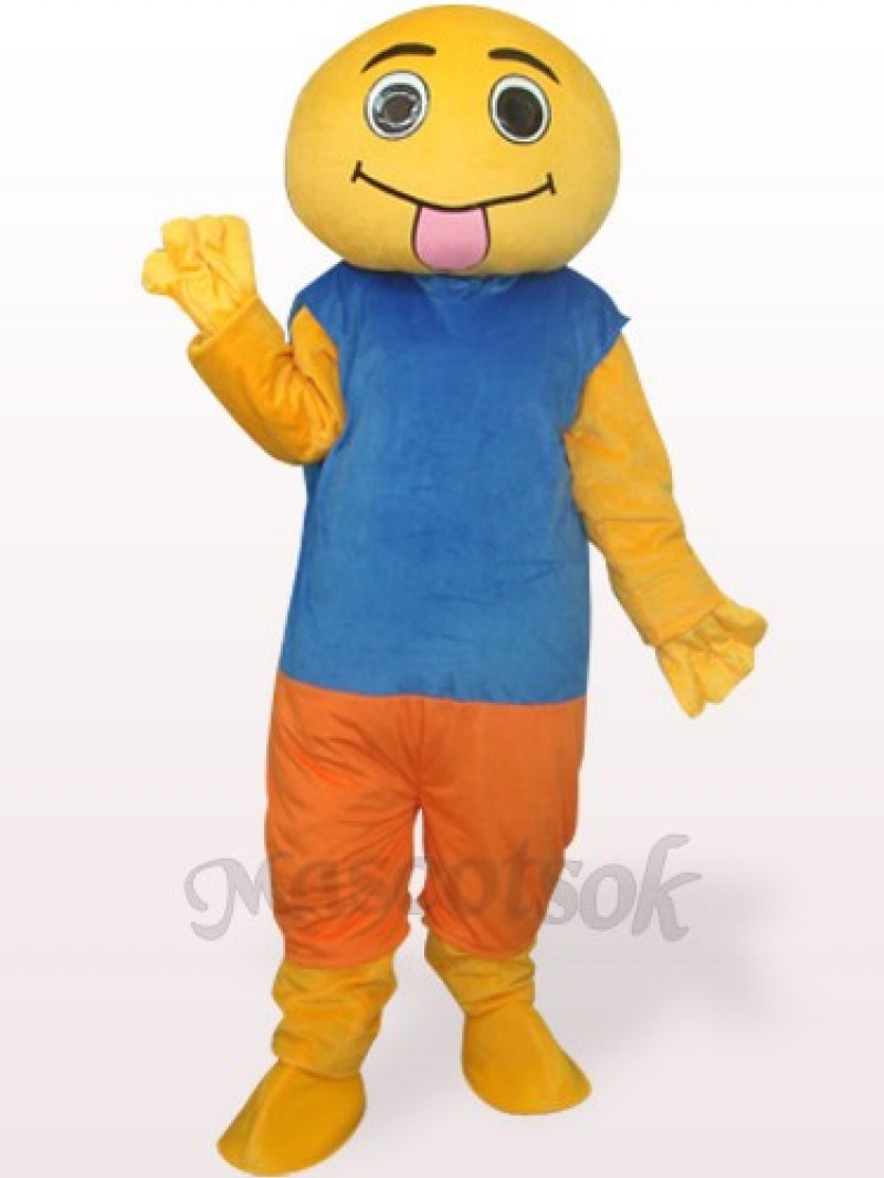 Brown And Blue Doll Plush Adult Mascot Costume