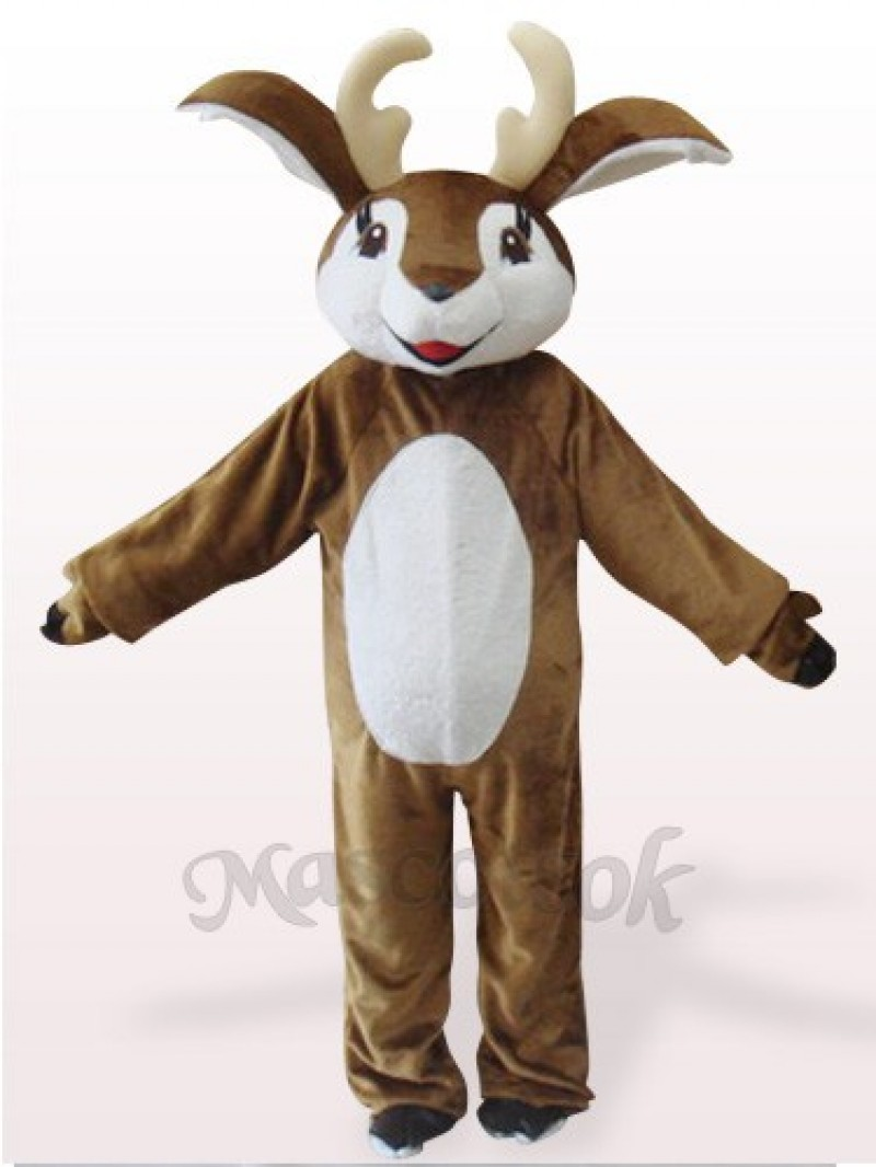 Brown And White Deer Plush Mascot Costume