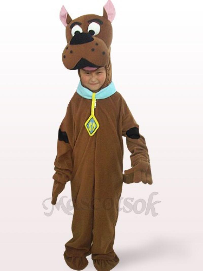 Brown Dog Open Face Kids Plush Mascot Costume