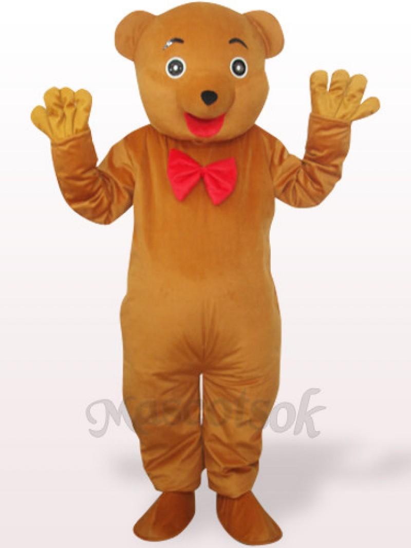 Brownish Yellow Bear Plush Adult Mascot Costume
