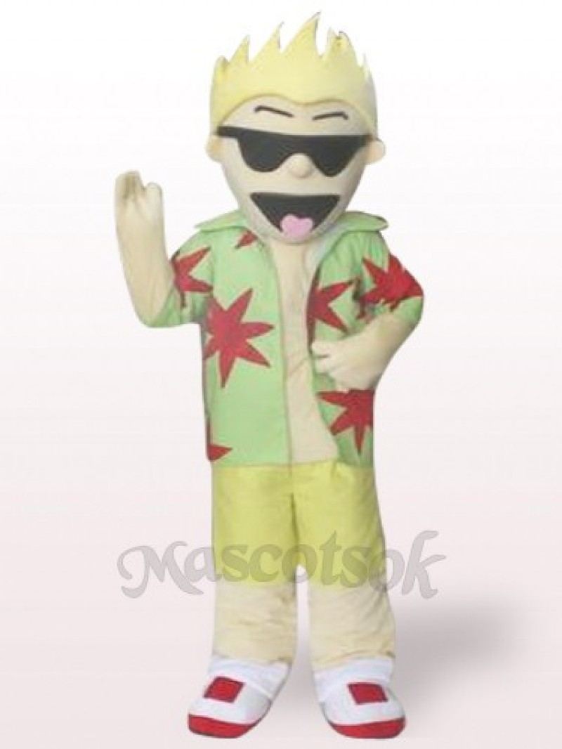 Cool Sunglasses Boy Plush Adult Mascot Costume